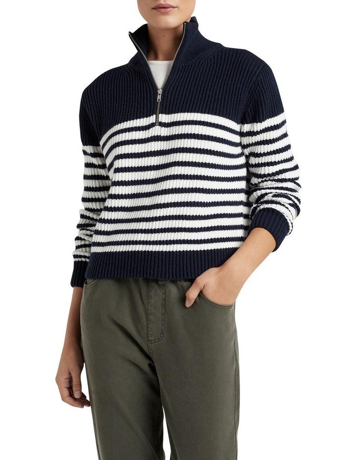 Half Zip Stripe Knit image 1