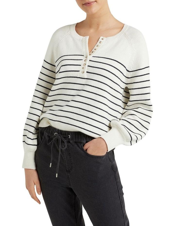 Stripe Button Through Knit image 1