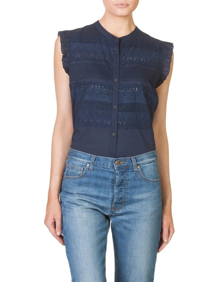 Lace Panel Sleeveless Shirt image 1