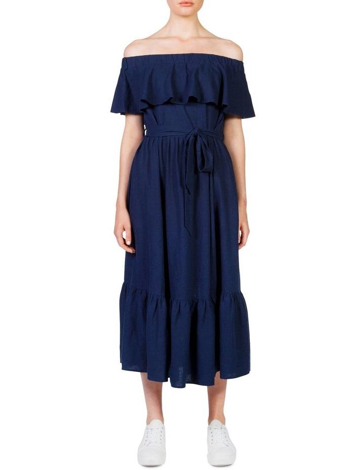 Off the shoulder frill maxi dress image 1