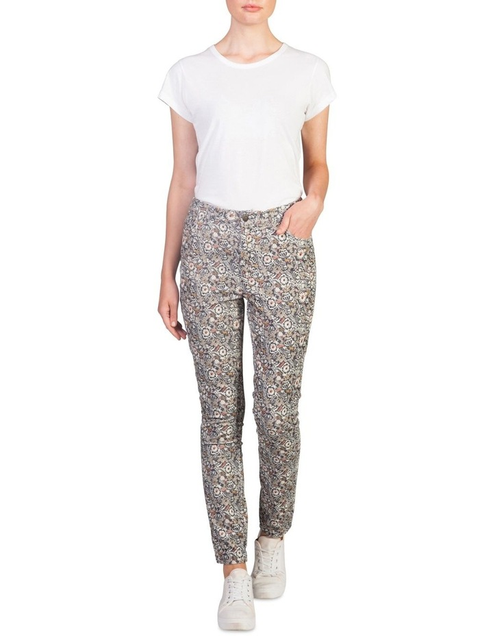 Corduroy Printed High Waisted Pants image 1