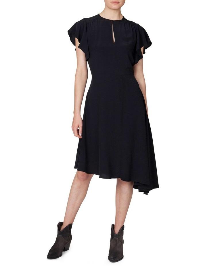 Asymmetrical Flutter Sleeve Dress image 1