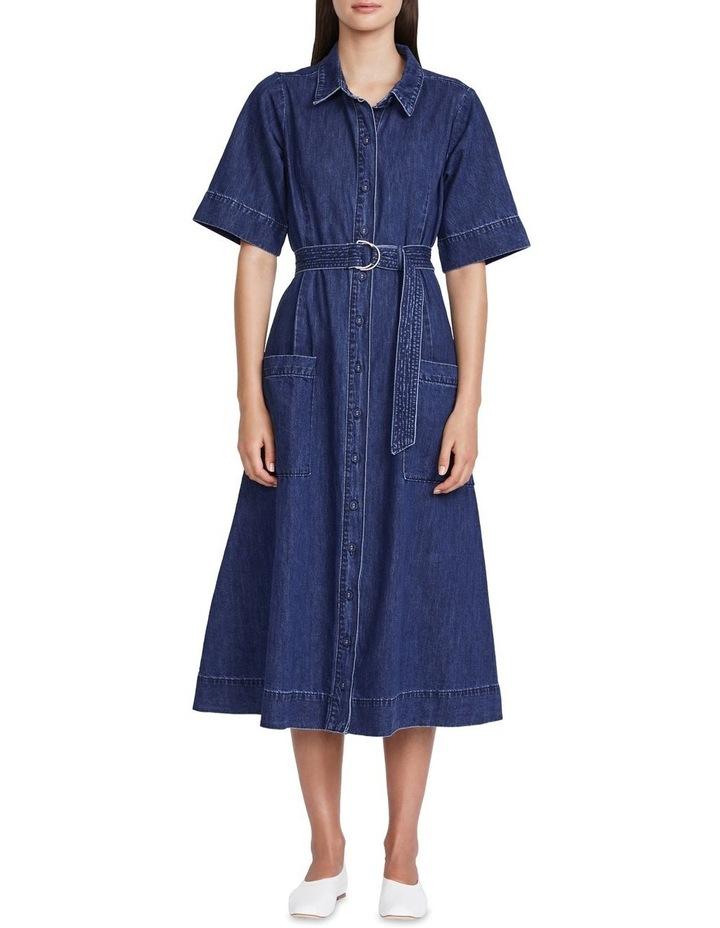 Cotton-Linen Belted Denim Dress image 1