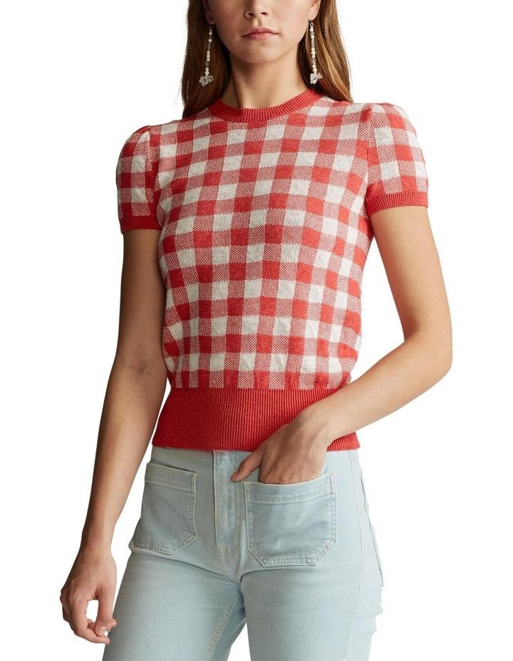 Gingham Short-Sleeve Sweater image 1