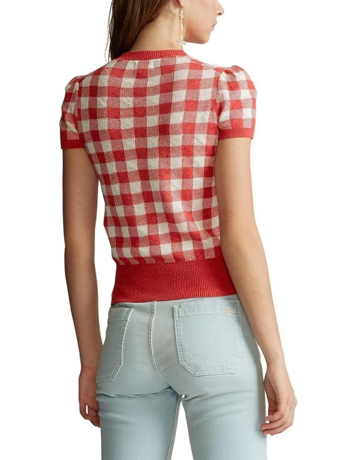 Gingham Short-Sleeve Sweater image 2