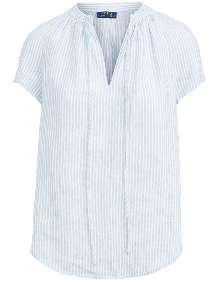 Striped Linen Necktie Blouse image 4