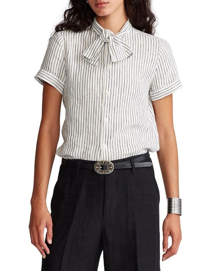 Linen Tie-Neck Shirt image 1