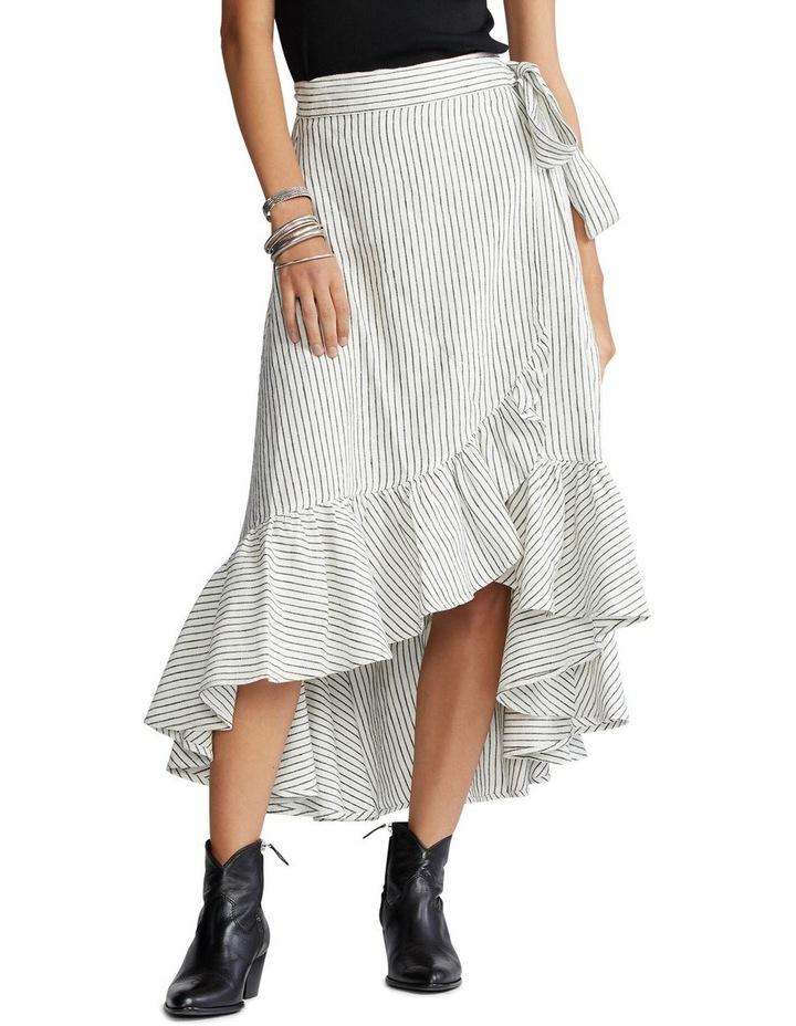 Striped Linen Wrap Skirt image 1