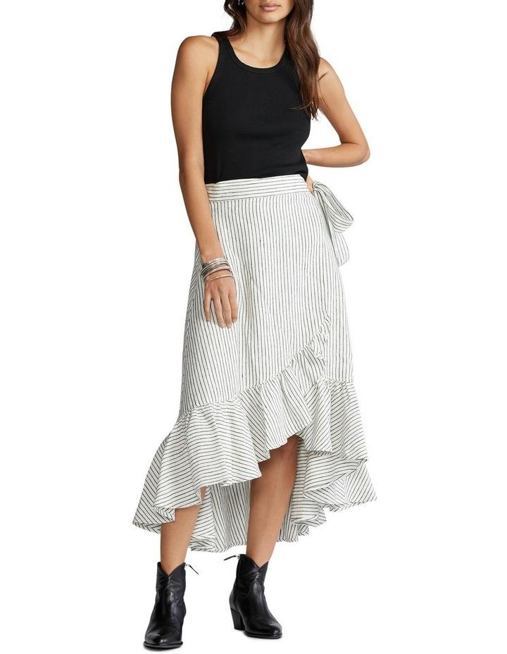 Striped Linen Wrap Skirt image 3