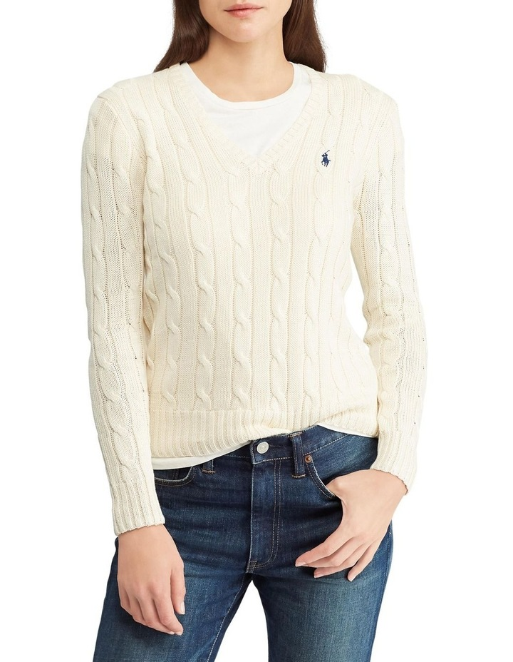 Cable-Knit V-Neck Sweater image 1