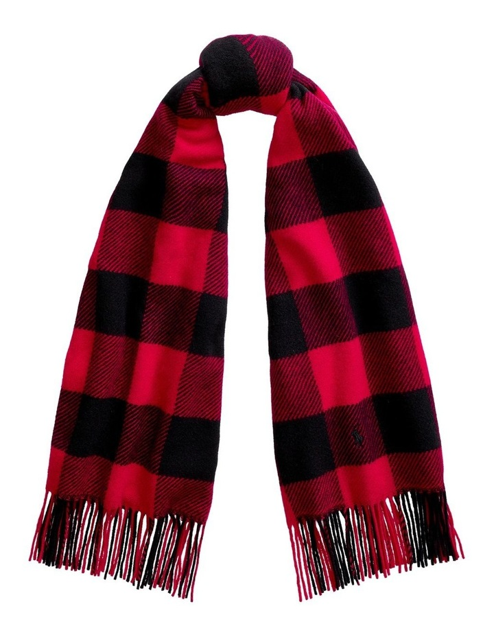 Fringe Plaid Wool Scarf image 1