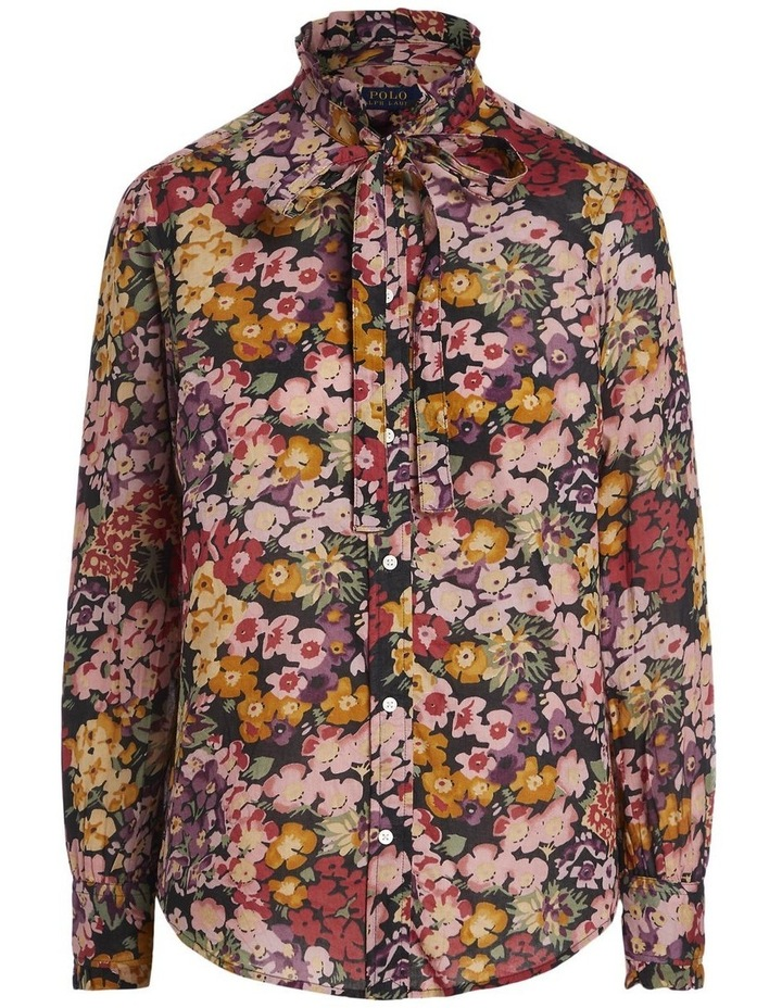 Floral Cotton Tie-Neck Shirt image 1