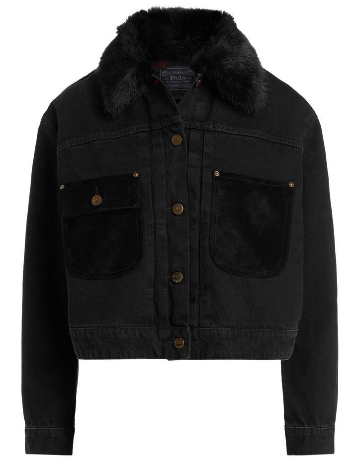 Fur-Trim Denim Trucker Jacket image 1