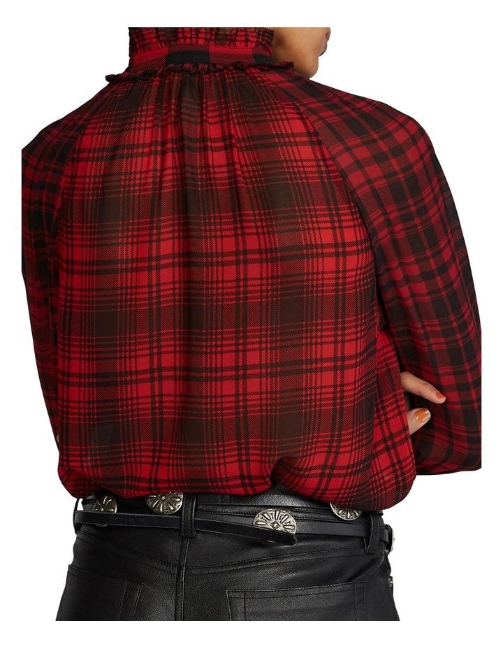 Plaid Tie-Neck Blouse image 2