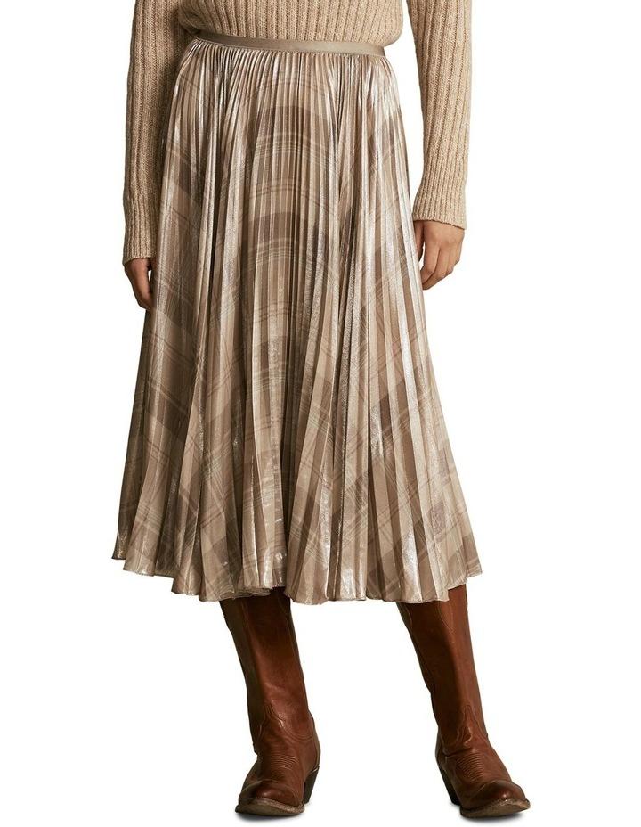 Metallic Plaid Pleated Skirt image 1