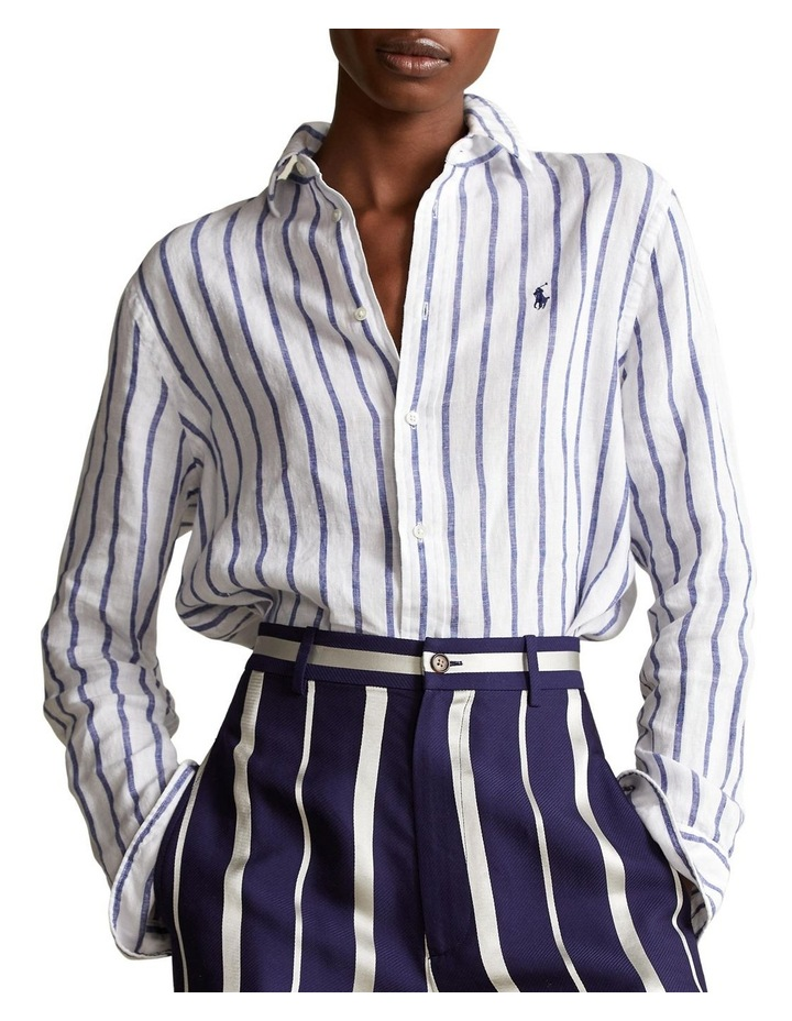 Relaxed Fit Striped Linen Shirt image 1