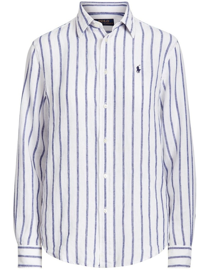 Relaxed Fit Striped Linen Shirt image 4
