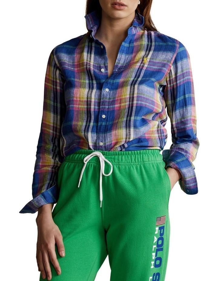Classic Fit Plaid Linen Shirt image 1