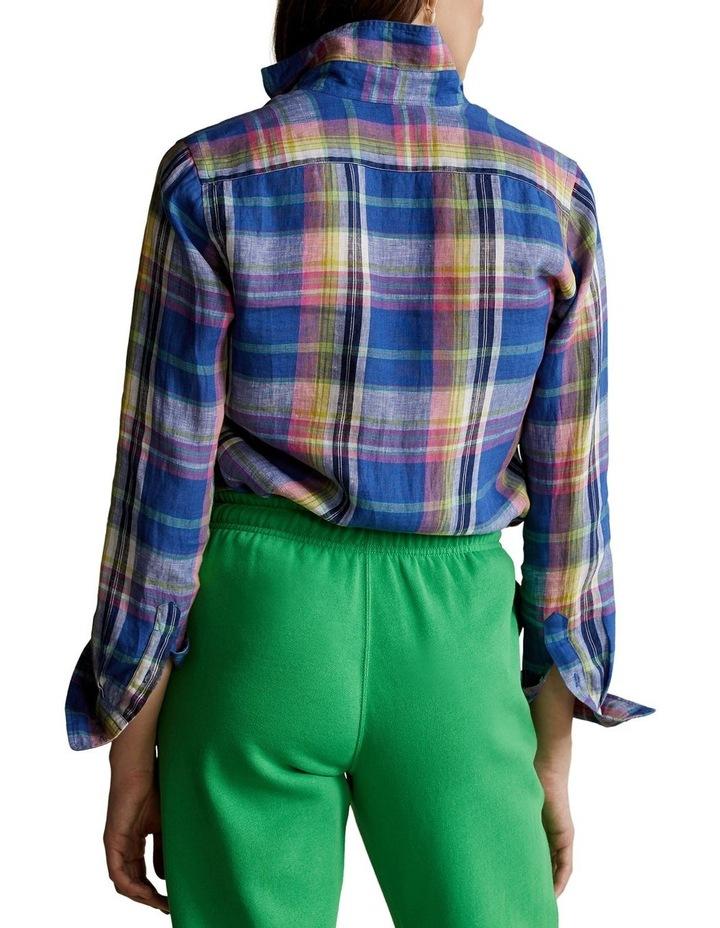 Classic Fit Plaid Linen Shirt image 2