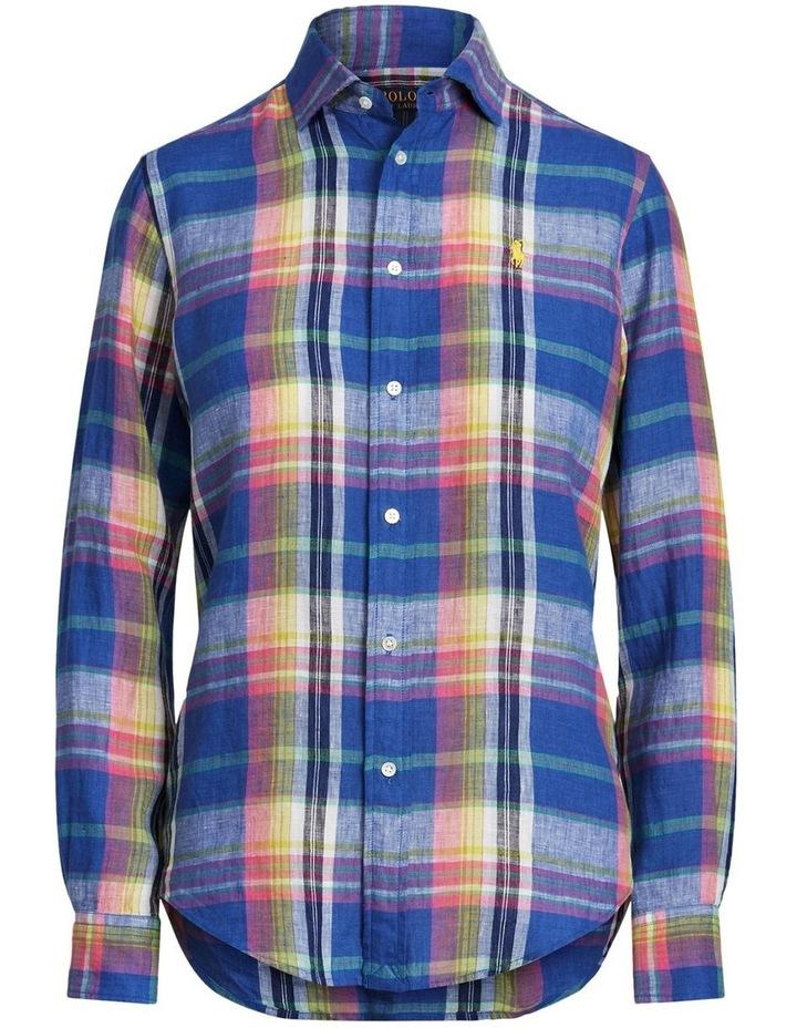 Classic Fit Plaid Linen Shirt image 4