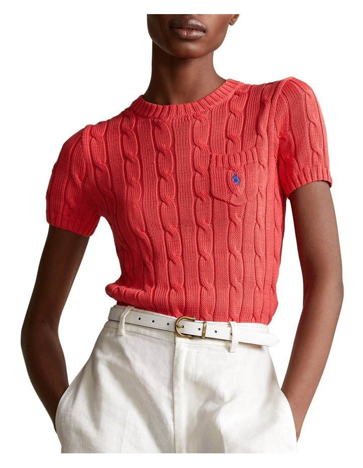 Cable-Knit Short-Sleeve Sweater image 1