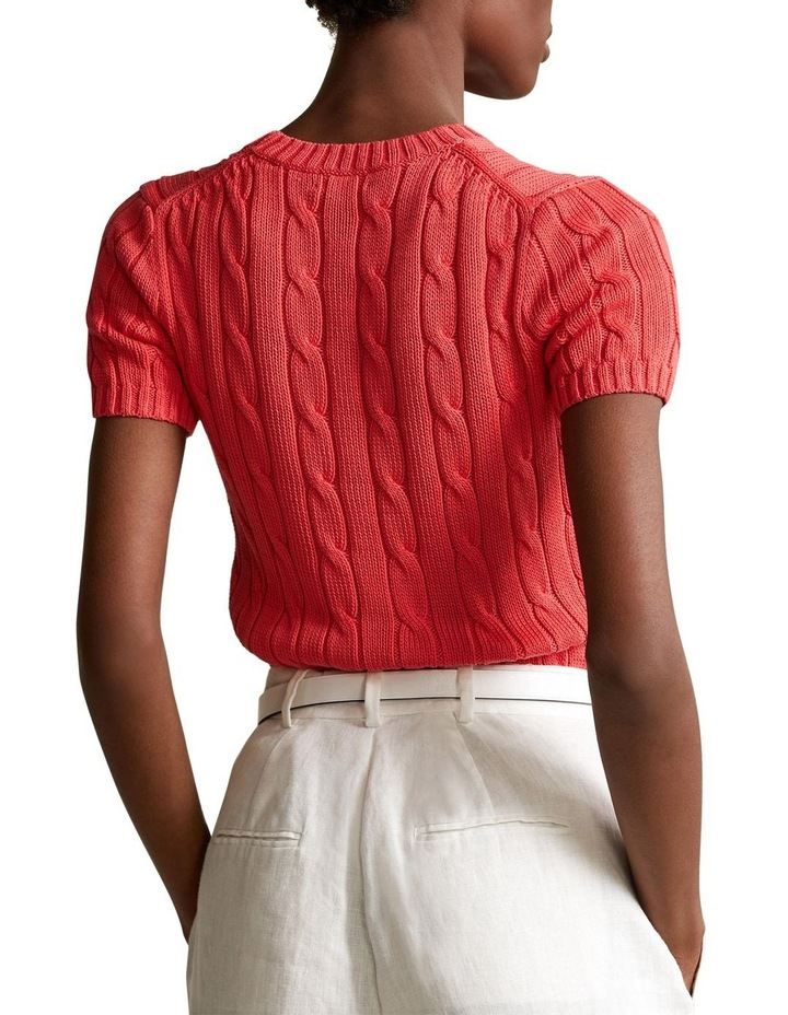 Cable-Knit Short-Sleeve Sweater image 2