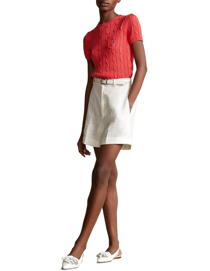 Cable-Knit Short-Sleeve Sweater image 3