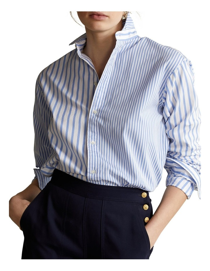 Striped Cotton High-Low Shirt image 1
