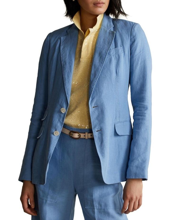 Single-Breasted Linen Blazer image 1