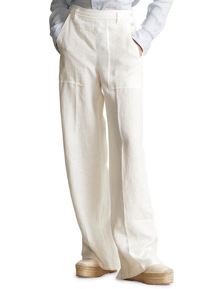 Buttoned-Placket Linen Pant image 1