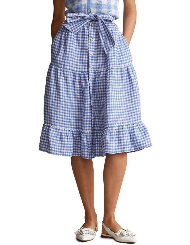 Gingham Linen Tiered Skirt image 1