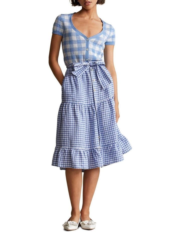 Gingham Linen Tiered Skirt image 3