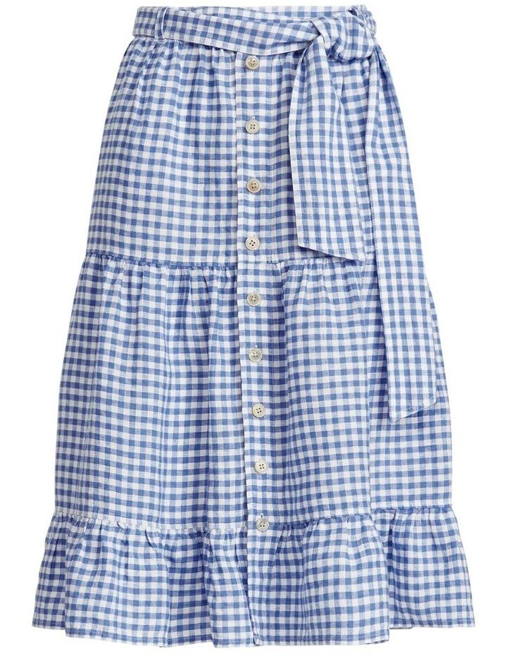 Gingham Linen Tiered Skirt image 4