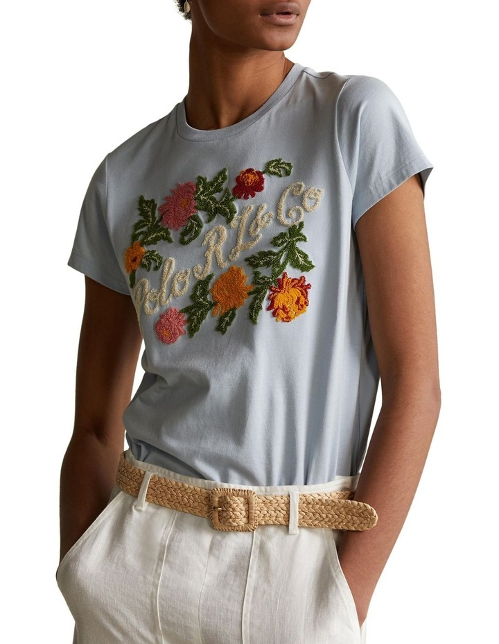 Embroidered Floral Jersey Tee image 1