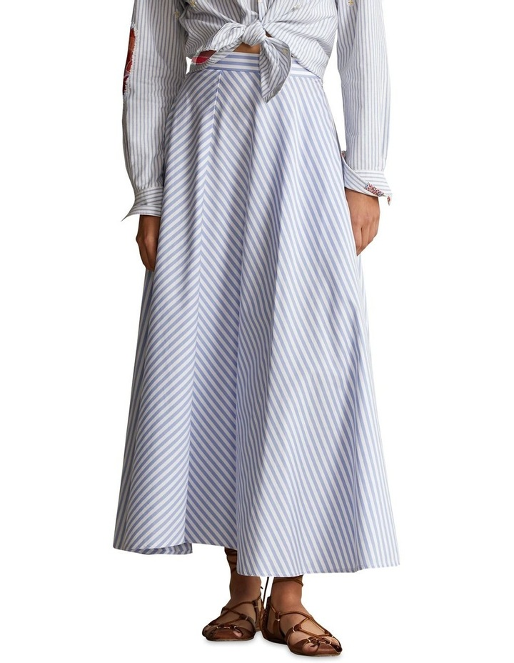 Striped Cotton A-Line Skirt image 1