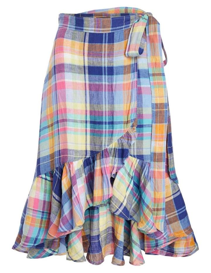 Plaid Linen Wrap Skirt image 1