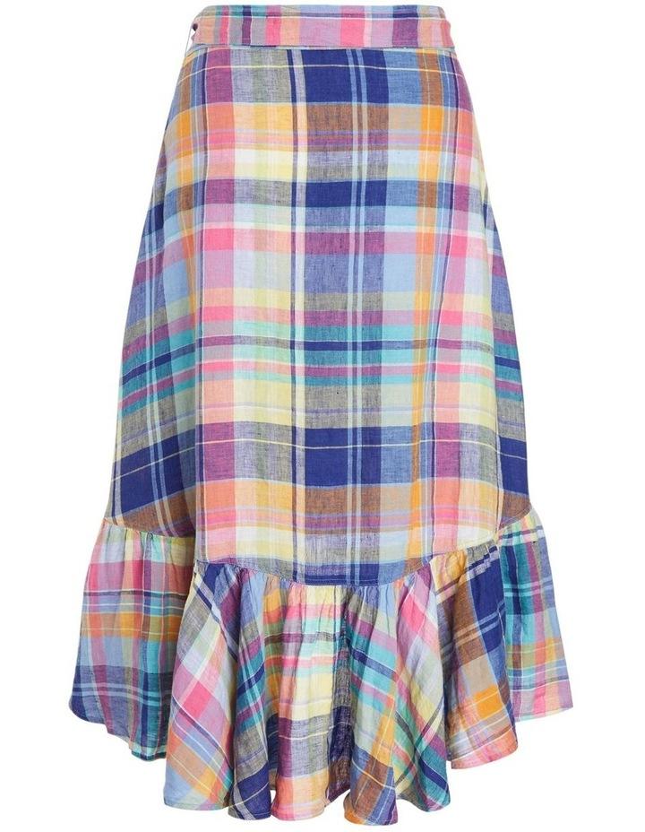 Plaid Linen Wrap Skirt image 2