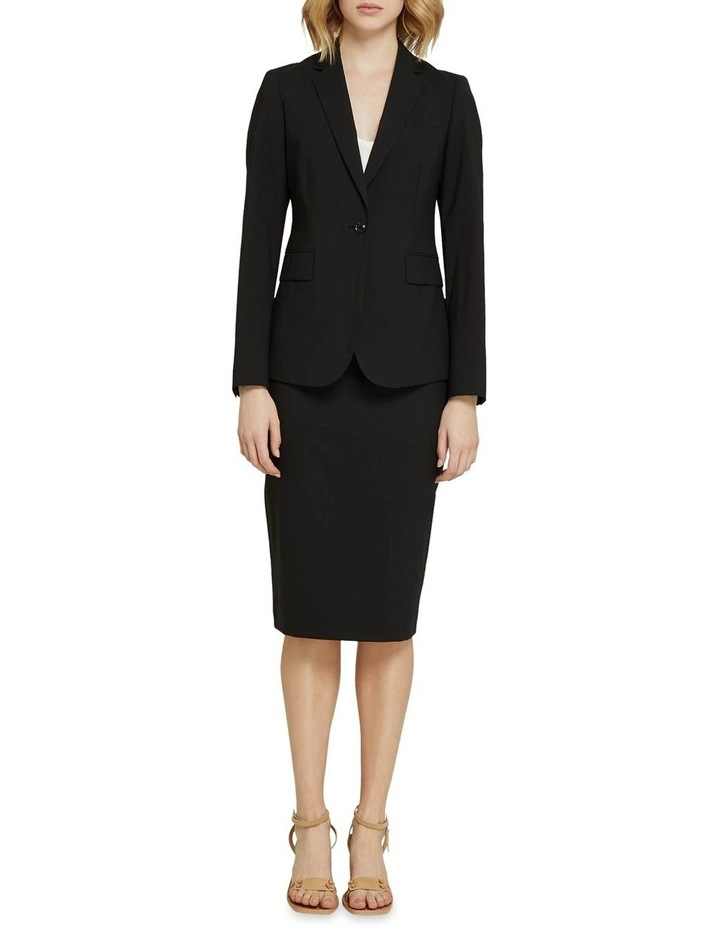 Peggy Black Wool Stretch Suit Skirt image 5