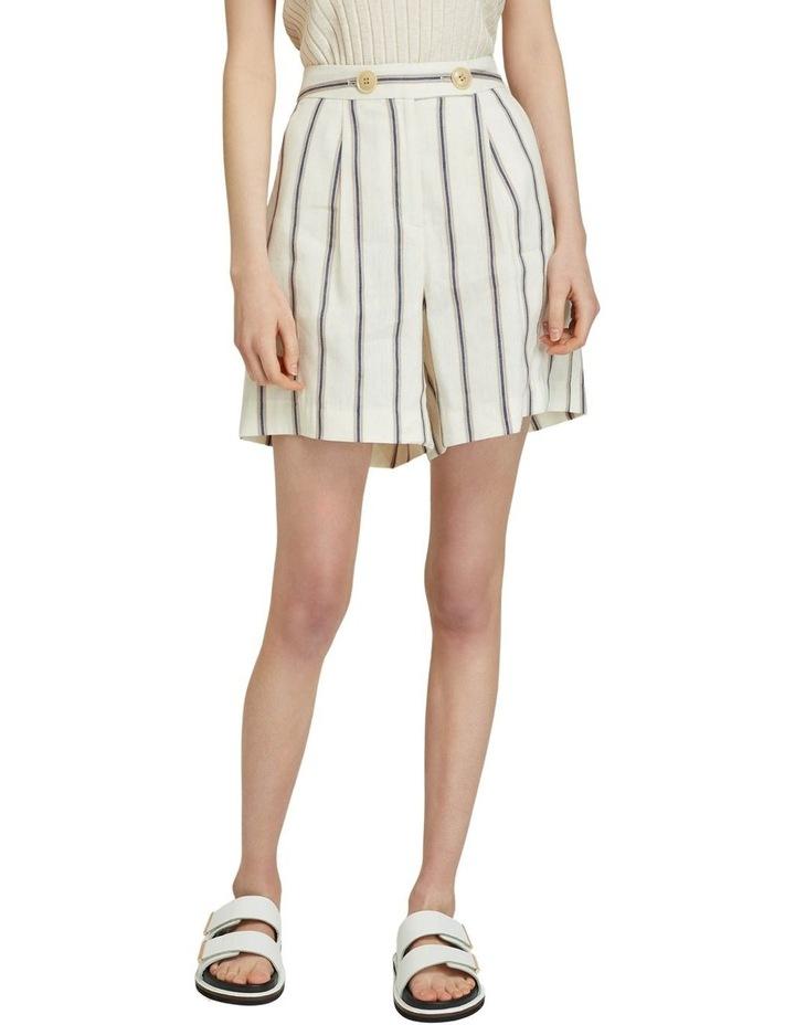 Sasha Striped Linen Blend Shorts image 1
