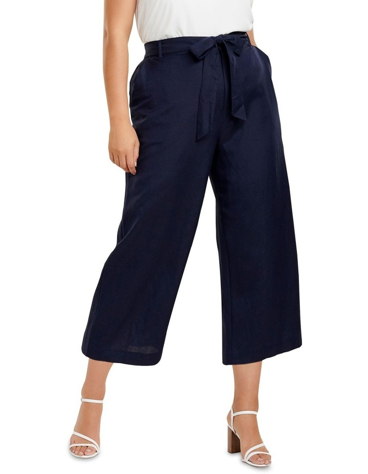 Becky Curve Linen Tie Front Culottes image 1