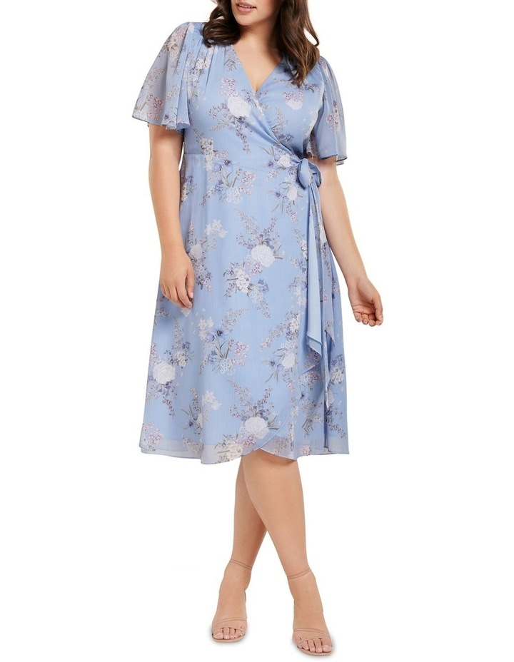 Ebony Ruched Wrap Curve Midi Dress image 1