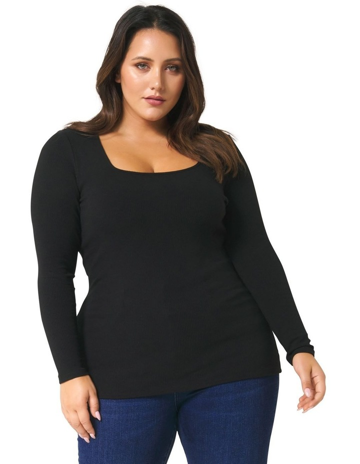 Brenna Rib Square Neck Curve Top image 1