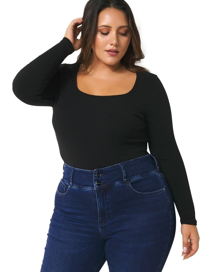 Brenna Rib Square Neck Curve Top image 2