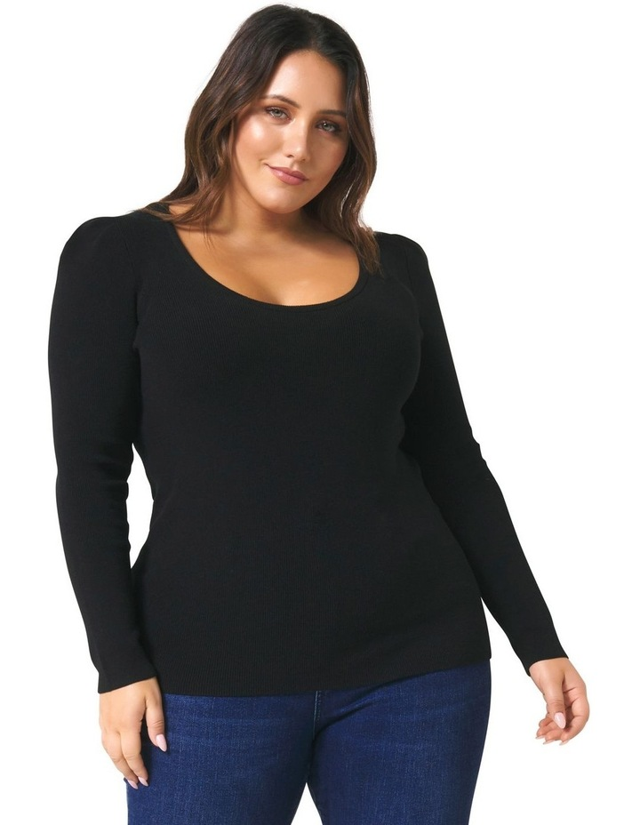 Odette Puff Sleeve Curve Knitted Top image 1