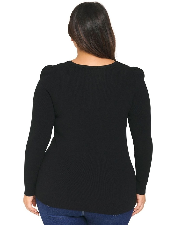 Odette Puff Sleeve Curve Knitted Top image 3