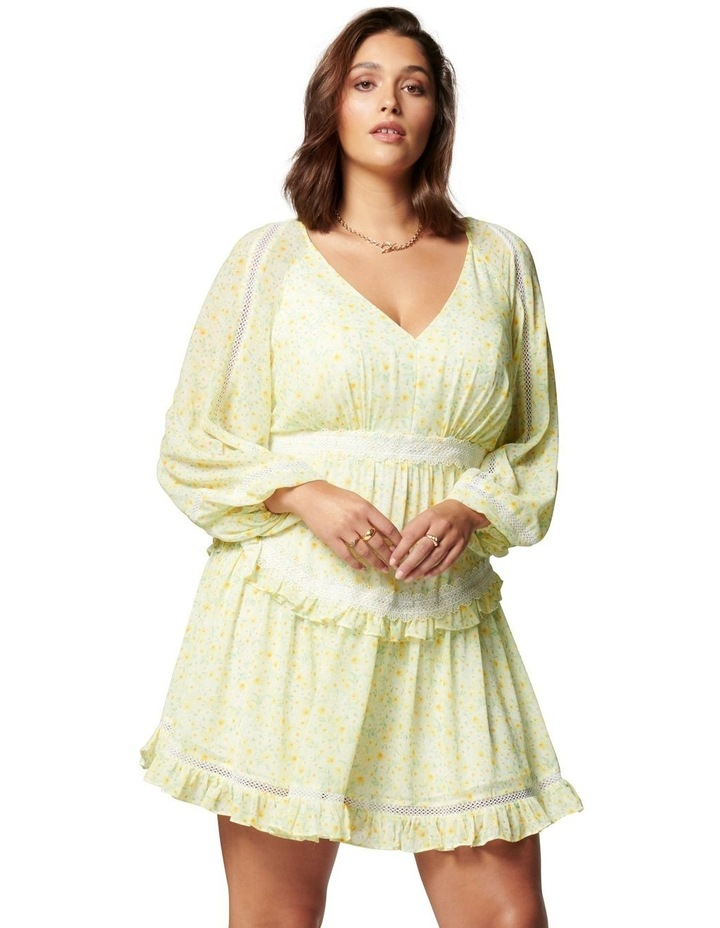 Kaylee Curve Trim Splice Mini Dress Sweet Mint Ditsy image 1