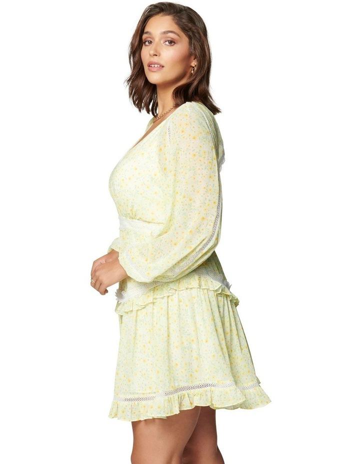Kaylee Curve Trim Splice Mini Dress Sweet Mint Ditsy image 3
