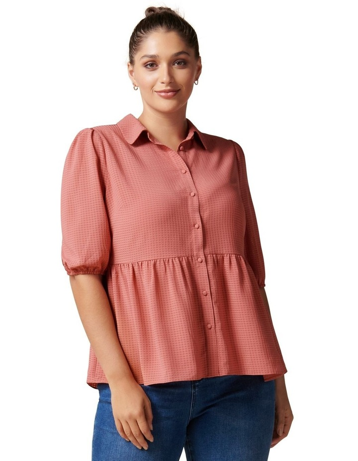 Angie Curve Textured Smock Shirt image 1
