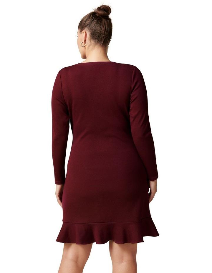 Annie Curve Rib Long Sleeve Frill Dress image 4