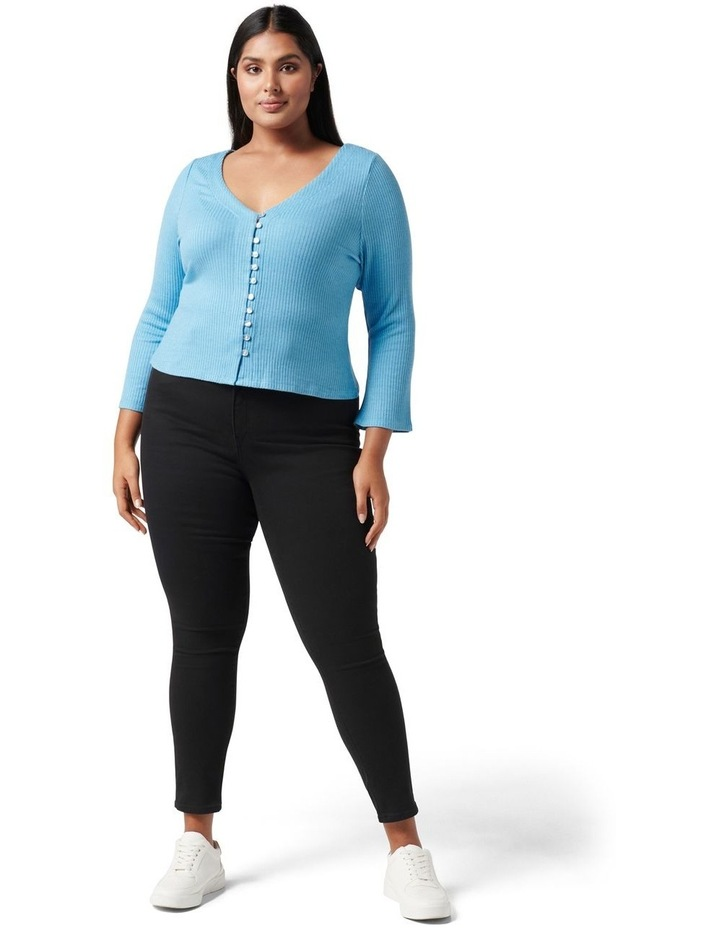 Brittany Curve Button Down Cardi Top Blue Day image 5